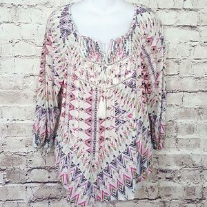 Mossimo Tassel Peasant Multi Color Blouse Sz.M